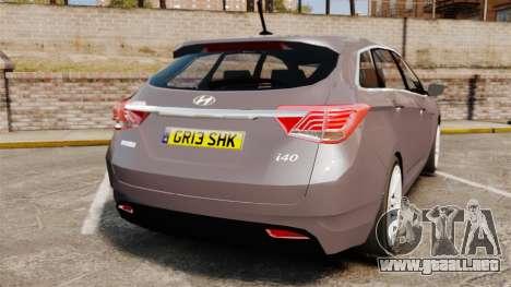 Hyundai i40 2013 Unmarked Police [ELS] para GTA 4 Vista posterior izquierda
