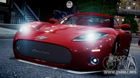 Spyker C8 Aileron Spyder v2.0 para GTA 4 Vista posterior izquierda