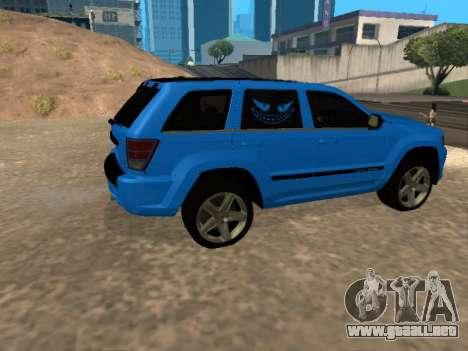Jeep Grand Cherokee SRT8 Restyling M para GTA San Andreas vista hacia atrás
