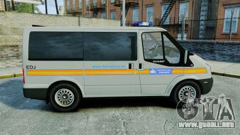 Ford Transit Metropolitan Police [ELS] para GTA 4 left