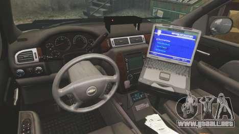 Chevrolet Tahoe 2007 LCHP [ELS] para GTA 4 vista hacia atrás