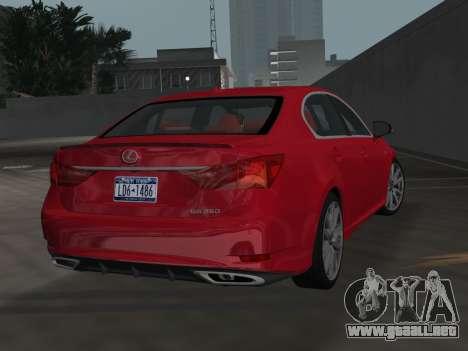 Lexus GS350 F Sport 2013 para GTA Vice City left