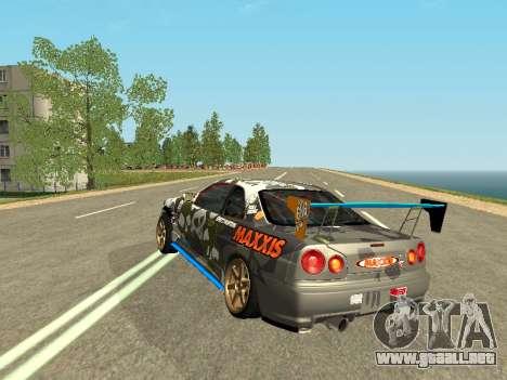 Nissan Skyline Drift para GTA San Andreas vista posterior izquierda