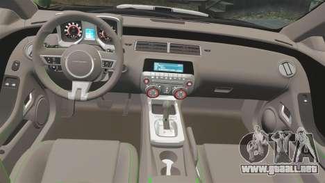 Chevrolet Camaro Police [ELS-EPM] para GTA 4 vista hacia atrás
