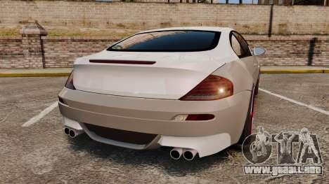 BMW M6 Vossen para GTA 4 Vista posterior izquierda
