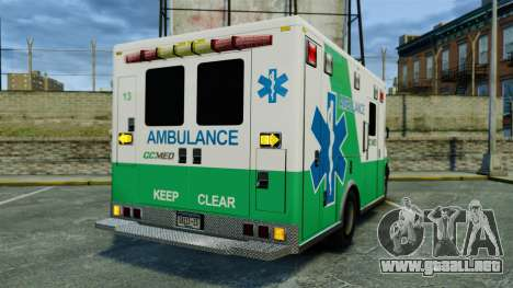 Brute GQ Med Ambulance [ELS] para GTA 4 Vista posterior izquierda