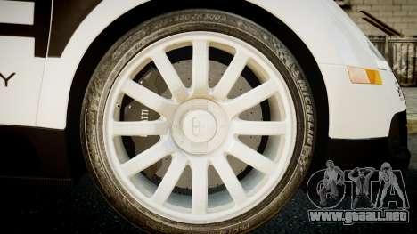 Bugatti Veyron 16.4 Police NFS Hot Pursuit para GTA 4 Vista posterior izquierda