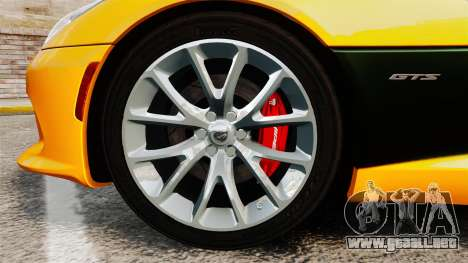 Dodge Viper SRT GTS 2013 para GTA 4 vista hacia atrás