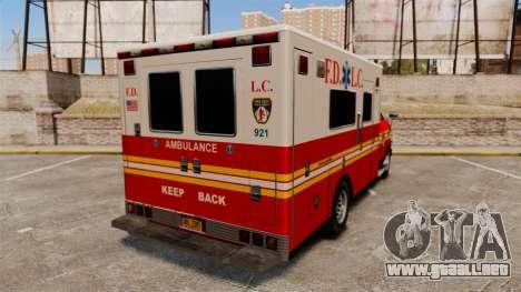 Brute FDLC Ambulance para GTA 4 Vista posterior izquierda
