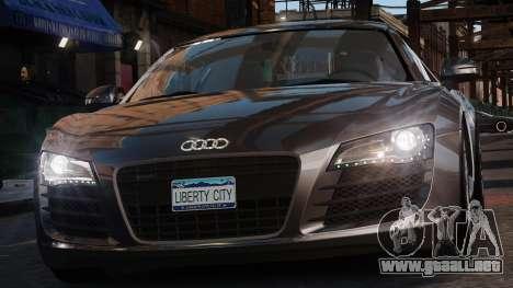 Audi R8 v1.1 para GTA 4 vista hacia atrás