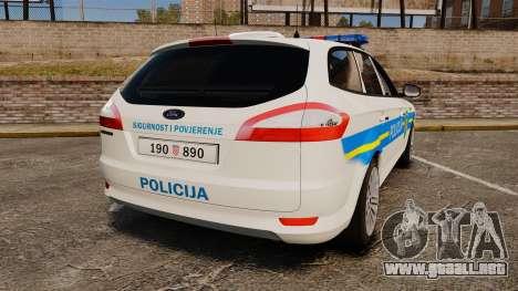 Ford Mondeo Croatian Police [ELS] para GTA 4 Vista posterior izquierda