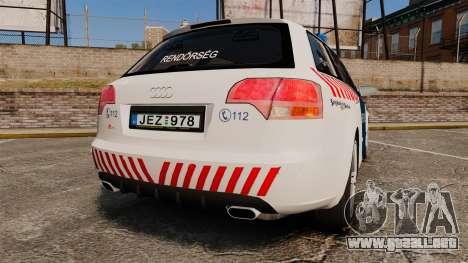 Audi S4 Avant Hungarian Police [ELS] para GTA 4 Vista posterior izquierda