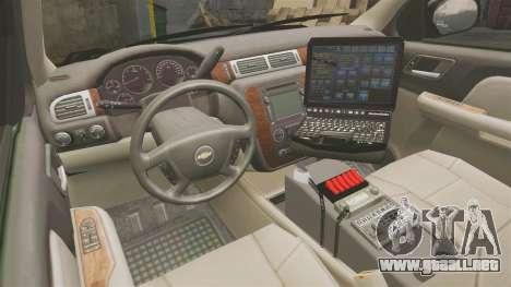 Chevrolet Tahoe 2008 LCPD [ELS] para GTA 4 vista hacia atrás