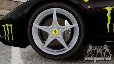 Ferrari 458 Italia 2010 Monster Energy para GTA 4 vista hacia atrás
