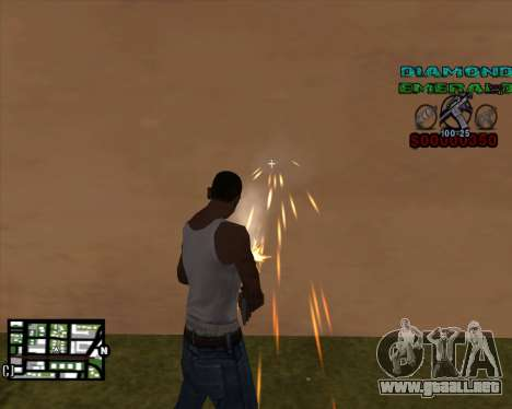 C-HUD Diamond Emerald para GTA San Andreas segunda pantalla