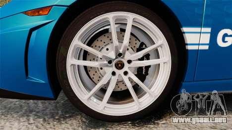 Lamborghini Gallardo Gendarmerie National [ELS] para GTA 4 vista hacia atrás