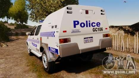 Toyota Hilux Police Western Australia para GTA 4 Vista posterior izquierda