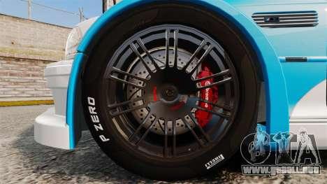 BMW M3 GTR 2012 Most Wanted v1.1 para GTA 4 vista hacia atrás