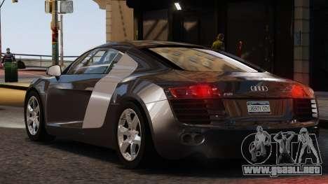 Audi R8 v1.1 para GTA 4 Vista posterior izquierda