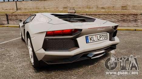 Lamborghini Aventador LP700-4 2012 [EPM] v1.1 para GTA 4 Vista posterior izquierda