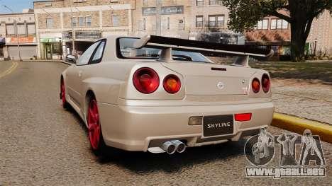 Nissan Skyline GT-R R34 V-Spec II para GTA 4 Vista posterior izquierda