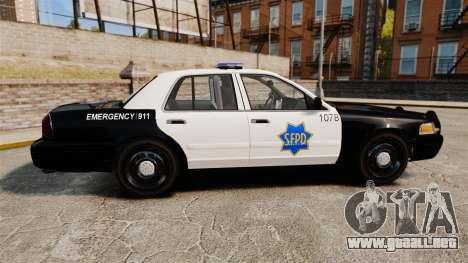 Ford Crown Victoria San Francisco Police [ELS] para GTA 4 left