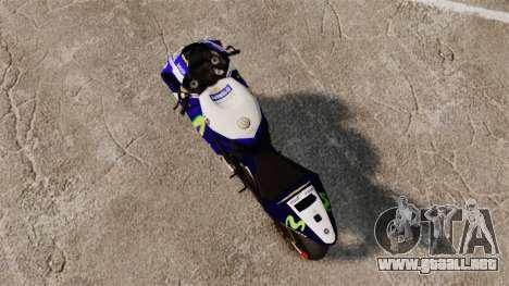 Yamaha YZR-M1 para GTA 4 Vista posterior izquierda
