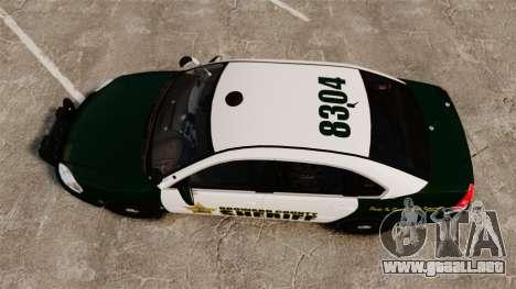 Chevrolet Impala 2010 Broward Sheriff [ELS] para GTA 4 visión correcta