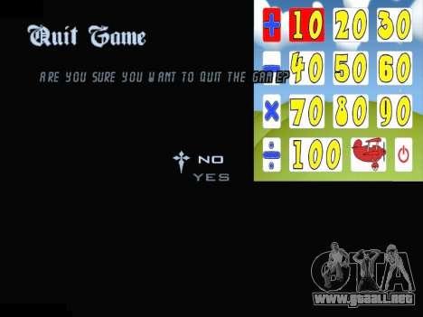 New Menu 2001 para GTA San Andreas octavo de pantalla
