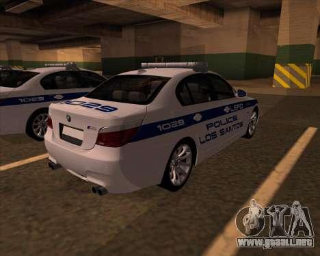 BMW M5 E60 Police LS para GTA San Andreas vista posterior izquierda