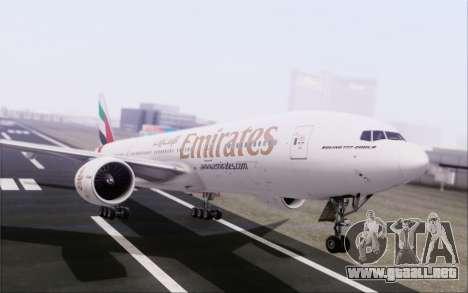 Emirates Airlines 777-200 para vista lateral GTA San Andreas