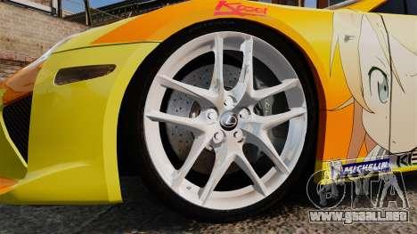 Lexus LF-A 2010 [EPM] Goodsmile Racing para GTA 4 vista hacia atrás