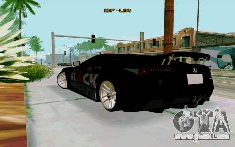 Lexus LFA Street Edition Djarum Black para GTA San Andreas left