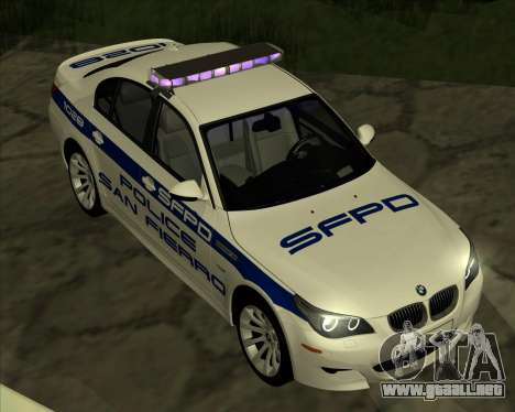 BMW M5 E60 Police SF para GTA San Andreas vista posterior izquierda