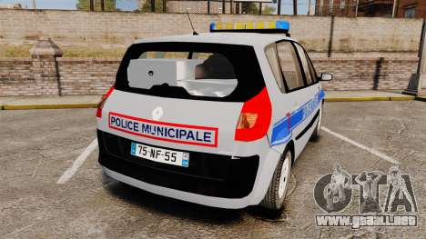 Renault Scenic Police Municipale [ELS] para GTA 4 Vista posterior izquierda