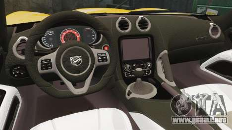 Dodge Viper SRT GTS 2013 para GTA 4 vista interior
