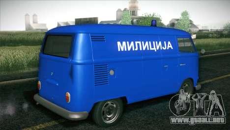 Volkswagen T1 Milicija para GTA San Andreas vista posterior izquierda
