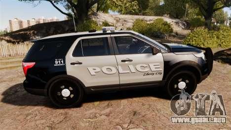 Ford Explorer 2013 LCPD [ELS] Black and Gray para GTA 4 left