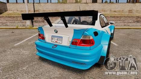 BMW M3 GTR 2012 Most Wanted v1.1 para GTA 4 Vista posterior izquierda