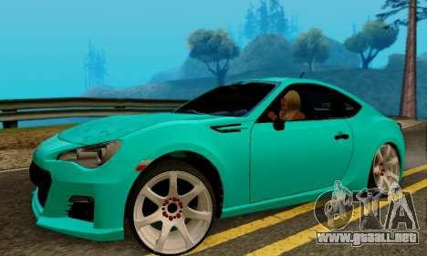 Subaru BRZ para GTA San Andreas vista posterior izquierda