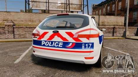 Ford Mondeo IV Wagon Police Nationale [ELS] para GTA 4 Vista posterior izquierda