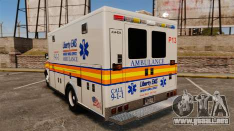 Brute Speedo LEMS Ambulance [ELS] para GTA 4 Vista posterior izquierda