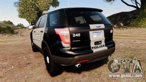 Ford Explorer 2013 LCPD [ELS] Black and Gray para GTA 4 Vista posterior izquierda