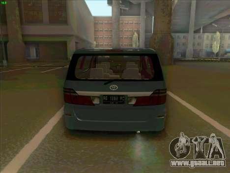 Toyota Alphard para GTA San Andreas vista posterior izquierda