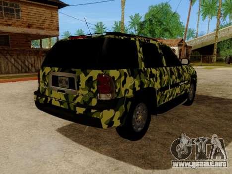 Chevrolet TrailBlazer Army para GTA San Andreas vista hacia atrás