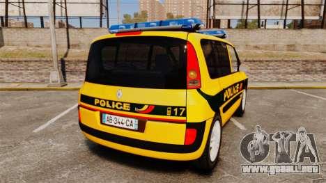 Renault Espace Police Nationale [ELS] para GTA 4 Vista posterior izquierda