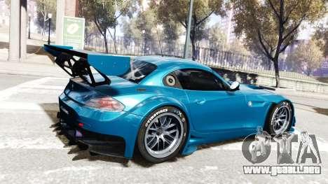 BMW Z4 GT3 2012 para GTA 4 vista hacia atrás