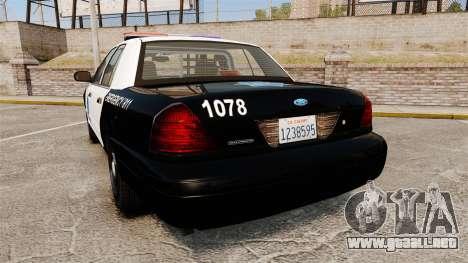 Ford Crown Victoria San Francisco Police [ELS] para GTA 4 Vista posterior izquierda