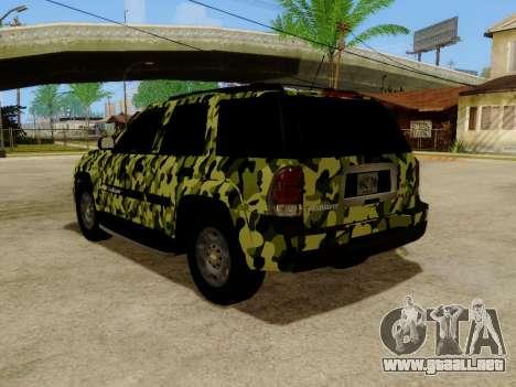 Chevrolet TrailBlazer Army para GTA San Andreas vista posterior izquierda
