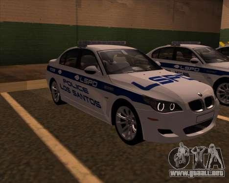 BMW M5 E60 Police LS para la visión correcta GTA San Andreas